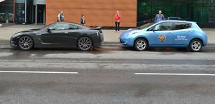 Nissan GT-R  и Nissan Leaf