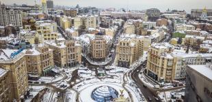 Заснеженный Киев сняли с высоты птичьего полета