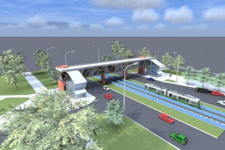 У Кличко показали, как будут выглядеть обновлённые пешеходные мосты над скоростным трамваем