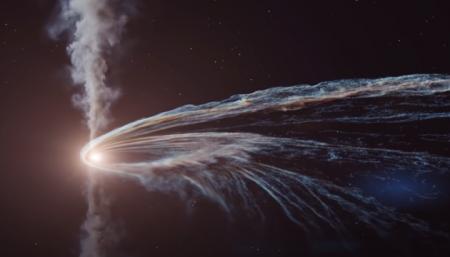 Немецкие ученые показали, как черная дыра разрывает звезду в клочья