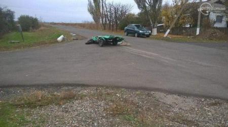 В Донецкой области зенитно-ракетный комплекс раздавил мотороллер