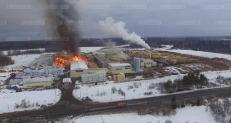 В России горит крупнейший деревообрабатывающий завод