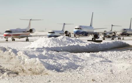 В аэропорту Запорожье самолет во время посадки занесло